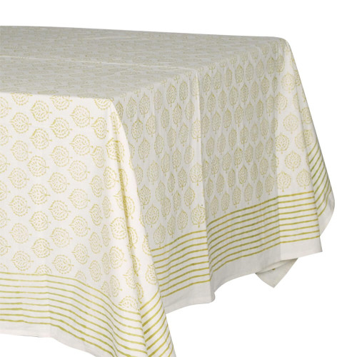 TABLECLOTH (6 - 8 SEATER) - PRINTED COTTON - OLIVE GREEN