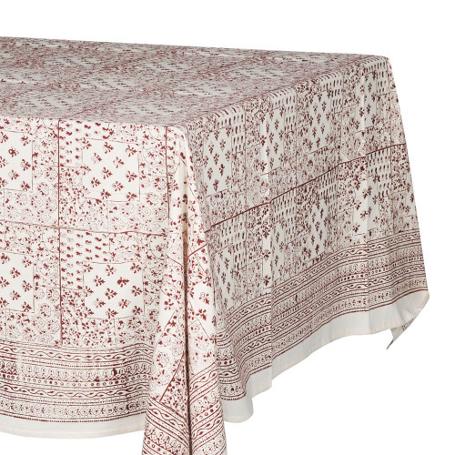 TABLE CLOTH (6 - 8 SEATER) - PRINTED COTTON - BLOOD RED