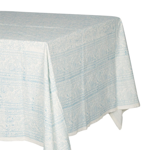 TABLECLOTH (6 - 8 SEATER) - PRINTED COTTON - ELECTRIC BLUE