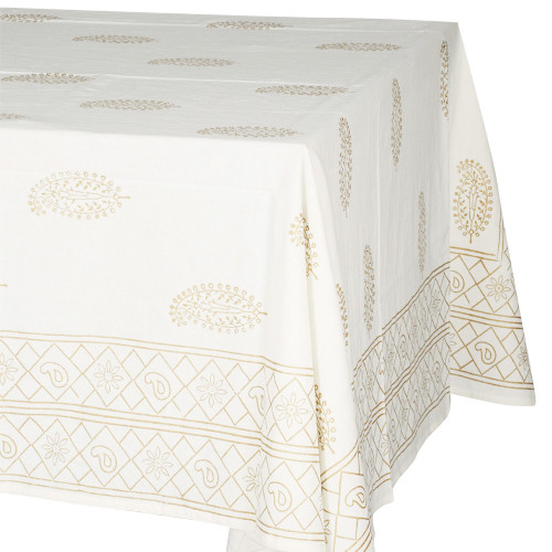 TABLECLOTH (6 - 8 SEATER) - GOLD ON CREAM