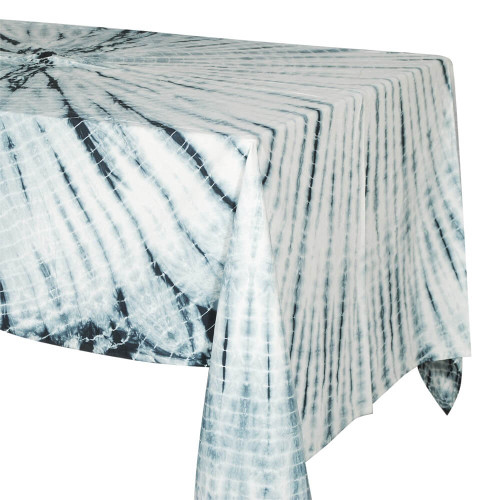 TABLECLOTH (6 - 8 SEATER) - TIE DYE WHITE WITH NAVY