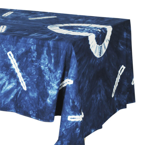 TABLECLOTH (6 - 8 SEATER) - TIE DYE BLUE WITH WHITE