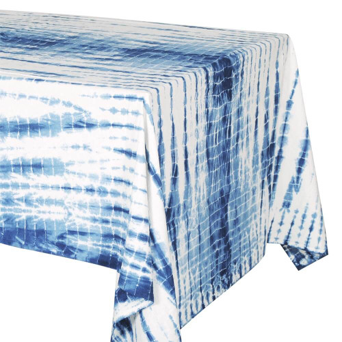 TABLECLOTH ( 6 - 8 SEATER) - TIE DYE WHITE WITH BLUE