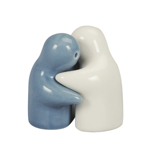 SALT & PEPPER HUGGING COUPLE 5CM - WHITE & GREY