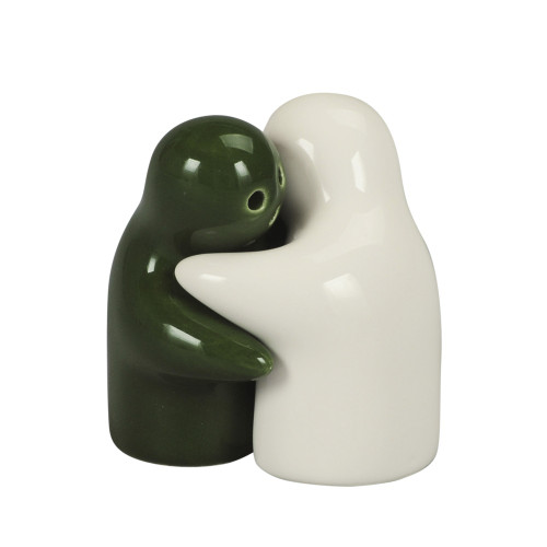 SALT & PEPPER HUGGING COUPLE 5CM - WHITE & GREEN
