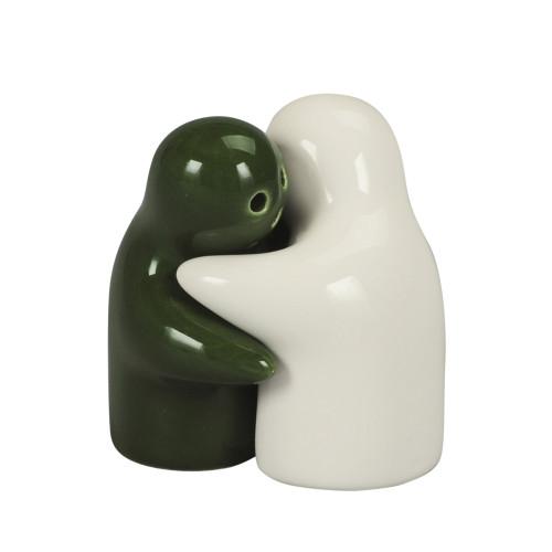 SALT & PEPPER HUGGING COUPLE 5CM - WHITE & GREEN