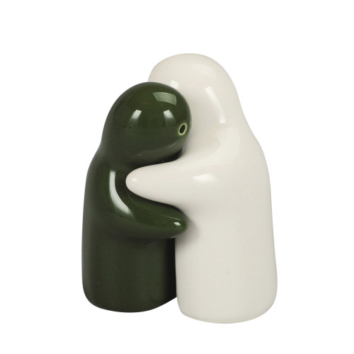 SALT & PEPPER HUGGING COUPLE 8CM - WHITE & GREEN