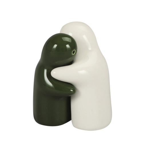 SALT & PEPPER HUGGING COUPLE 8CM - WHITE & GREEN