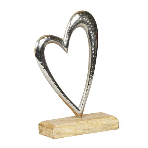 NICKLE OPEN HEART WITH WOODEN BASE