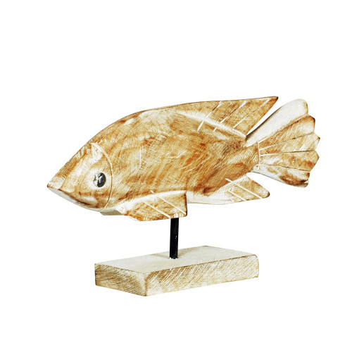 WOODEN FISH ON STAND