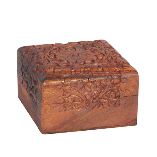 KASHMIRI WOODEN CARVED BOX SQUARE