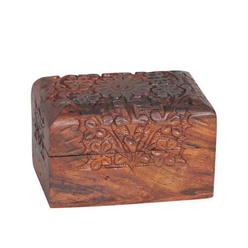 KASHMIRI WOODEN CARVED BOX RECTANGLE 98