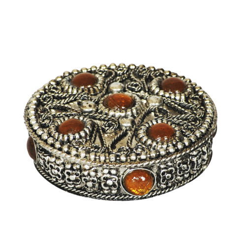 PILL BOX - ROUND WITH GOLDEN BEADS