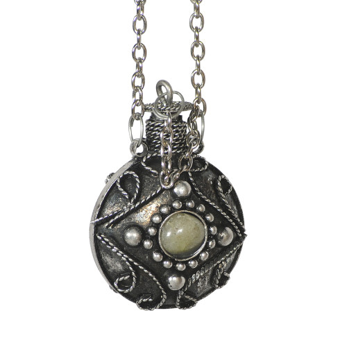 PERFUME BOTTLE NECKLACE - ASSORTED AGATE BEADS (S)