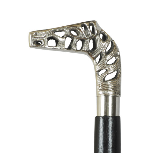 WALKING STICK - BLACK - HORSE PERFORATED HANDLE
