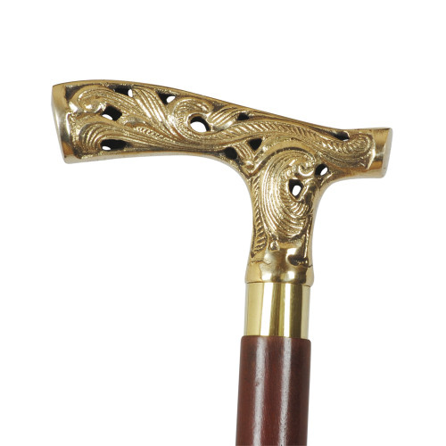WALKING STICK - WOOD/BRASS WITH BROWN FINISH