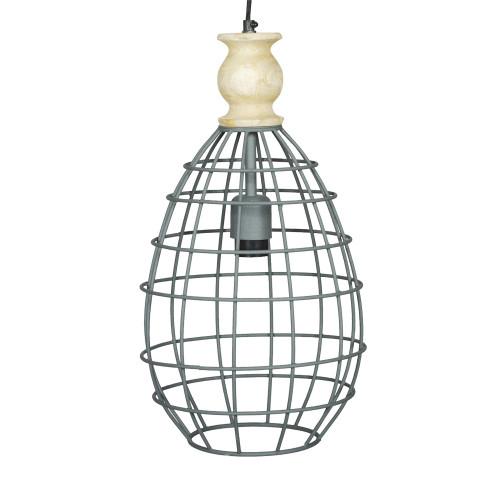 GREY IRON HANGING LAMP WITH MANGO WOOD FINISH