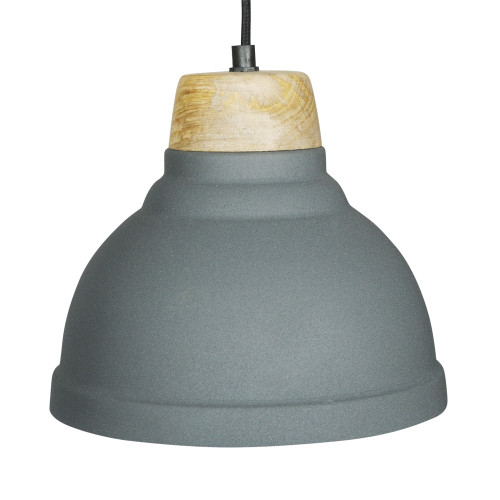 GREY POWDER COATED IRON HANGING LAMP WITH MANGO WOOD FINISH 1
