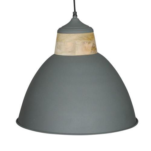 GREY POWDER COATED IRON HANGING LAMP WITH MANGO WOOD FINISH 3
