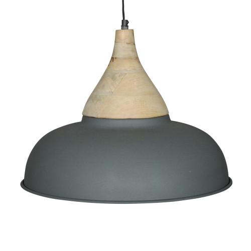 GREY POWDER COATED IRON HANGING LAMP WITH MANGO WOOD FINISH 4