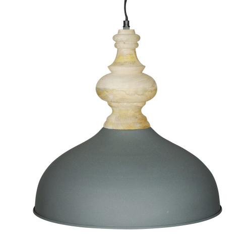 GREY POWDER COATED IRON HANGING LAMP WITH MANGO WOOD FINISH 5