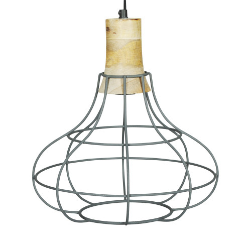 GREY IRON HANGING LAMP WITH MANGO WOOD FINISH 6