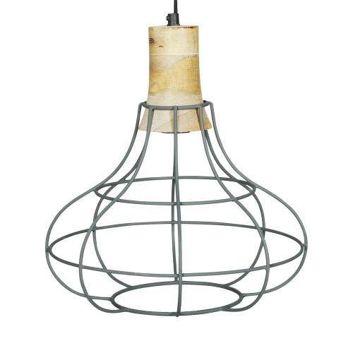 GREY IRON HANGING LAMP WITH MANGO WOOD FINISH 6