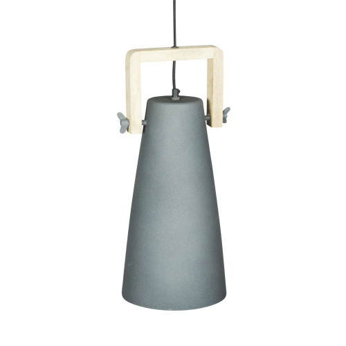 GREY POWDER COATED IRON HANGING LAMP WITH MANGO WOOD FINISH 7