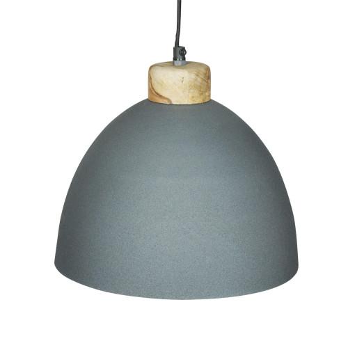 GREY POWDER COATED IRON HANGING LAMP WITH MANGO WOOD FINISH 8