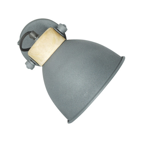 GREY POWDER COATED IRON WALL LAMP WITH MANGO WOOD FINISH 9