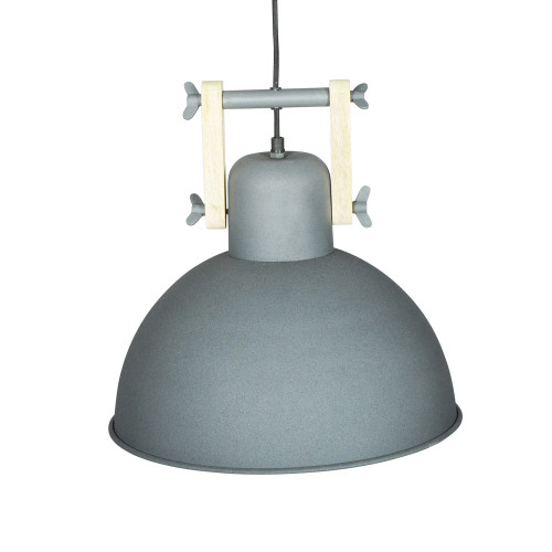 GREY POWDER COATED IRON HANGING LAMP WITH MANGO WOOD FINISH 10
