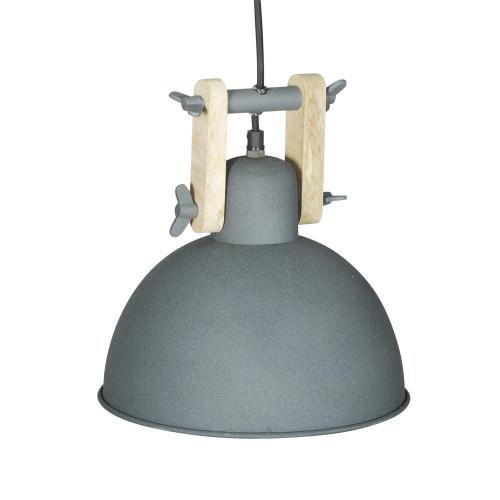 GREY POWDER COATED IRON HANGING LAMP WITH MANGO WOOD FINISH 11