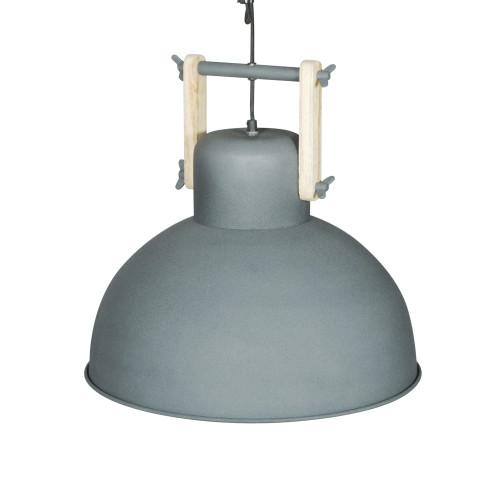 GREY POWDER COATED IRON HANGING LAMP WITH MANGO WOOD FINISH 12