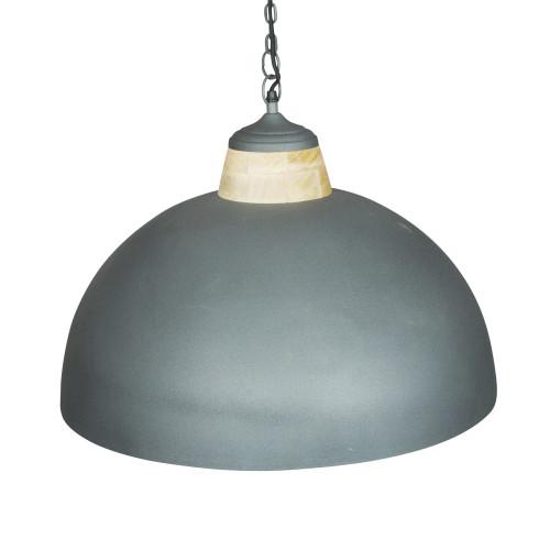 GREY POWDER COATED IRON HANGING LAMP WITH MANGO WOOD FINISH 13