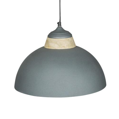 GREY POWDER COATED IRON HANGING LAMP WITH MANGO WOOD FINISH 14