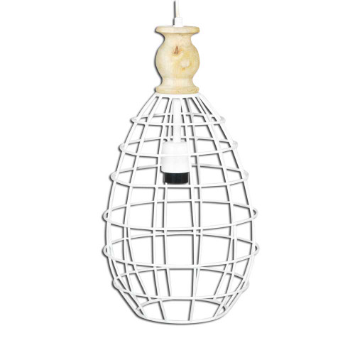 WHITE IRON HANGING LAMP WITH MANGO WOOD FINISH