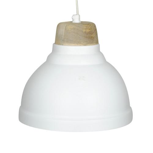 WHITE POWDER COATED IRON HANGING LAMP WITH MANGO WOOD FINISH 1