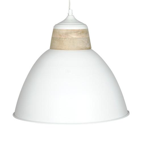 WHITE POWDER COATED IRON HANGING LAMP WITH MANGO WOOD FINISH 3