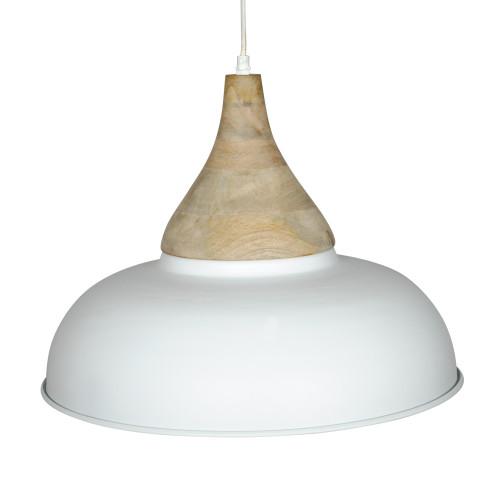 WHITE POWDER COATED IRON HANGING LAMP WITH MANGO WOOD FINISH 4