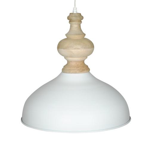 WHITE POWDER COATED IRON HANGING LAMP WITH MANGO WOOD FINISH 5
