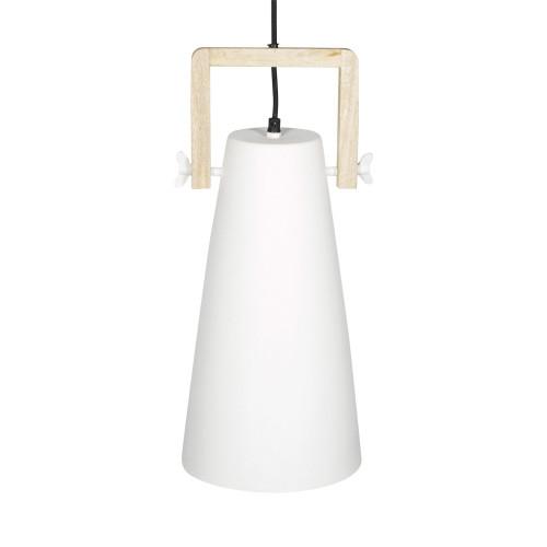 WHITE POWDER COATED IRON HANGING LAMP WITH MANGO WOOD FINISH 7