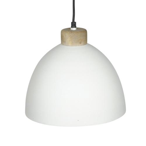 WHITE POWDER COATED IRON HANGING LAMP WITH MANGO WOOD FINISH 8