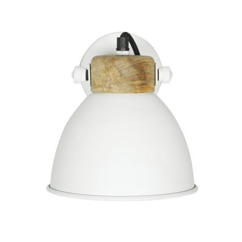 WHITE POWDER COATED IRON WALL LAMP WITH MANGO WOOD FINISH 9