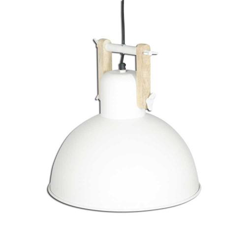 WHITE POWDER COATED IRON HANGING LAMP WITH MANGO WOOD FINISH 10