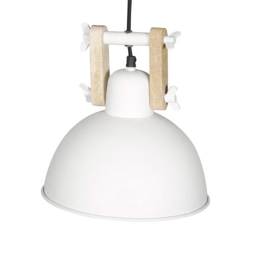 WHITE POWDER COATED IRON HANGING LAMP WITH MANGO WOOD FINISH 11