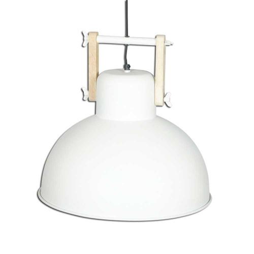 WHITE POWDER COATED IRON HANGING LAMP WITH MANGO WOOD FINISH 12