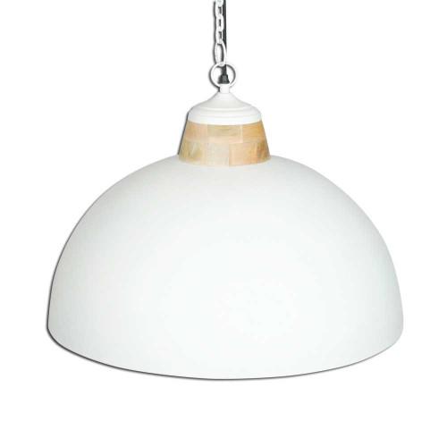 WHITE POWDER COATED IRON HANGING LAMP WITH MANGO WOOD FINISH 13