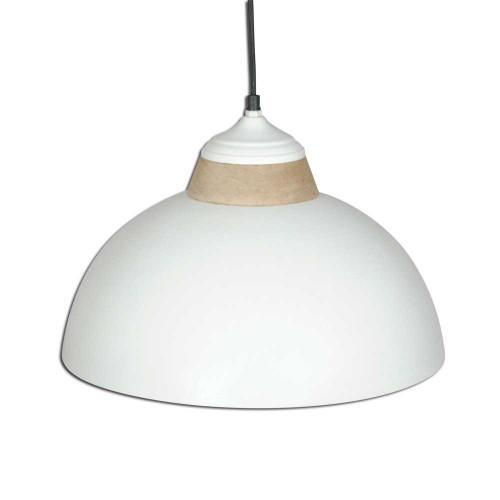 WHITE POWDER COATED IRON HANGING LAMP WITH MANGO WOOD FINISH 14
