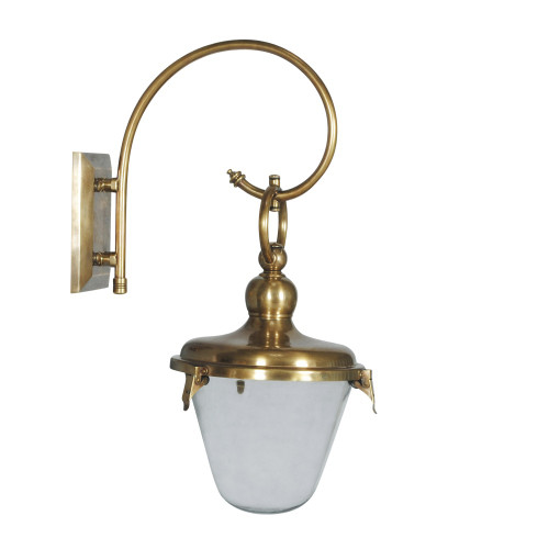 WALL LAMP CLEAR GLASS CHIMNEY, ANT. BRASS