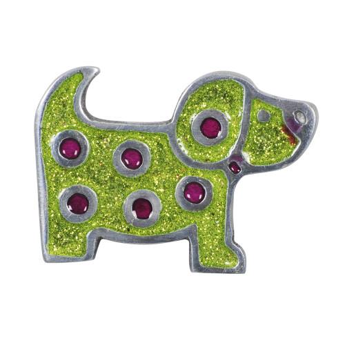 KNOB DOG GREEN GLITTER